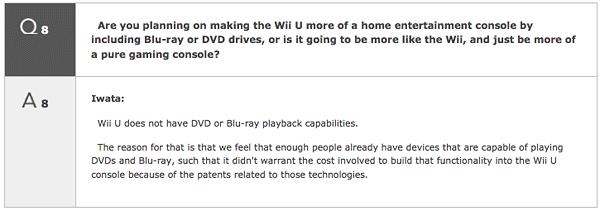 Wii U no reproducirá ni DVD ni Blu-Ray