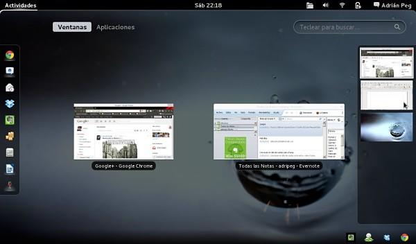 La multitarea en Fedora 15 con Gnome 3