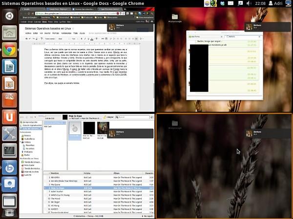Vista general del muro de Unity en Ubuntu 11.10, así es la multitarea