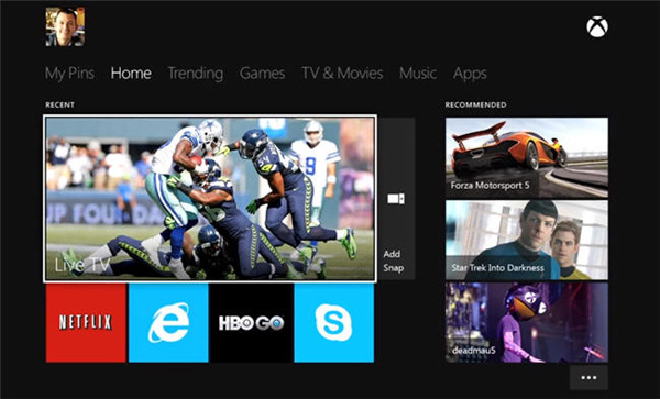 Interfaz Xbox One